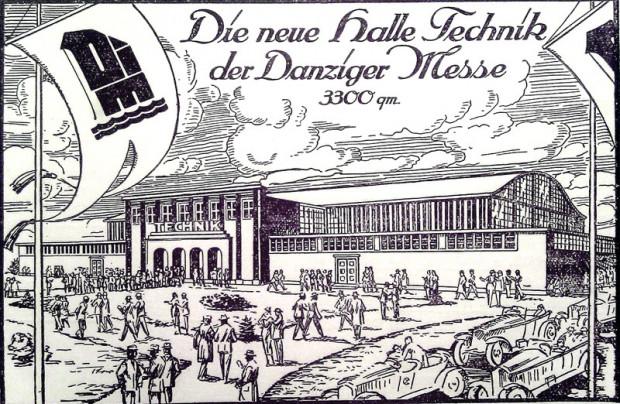 """Pocztówka wydana z okazji otwarcia w Gdańsku nowej hali targowo-wystawienniczej """"Technik"""". Wrzesień, 1925 r."""