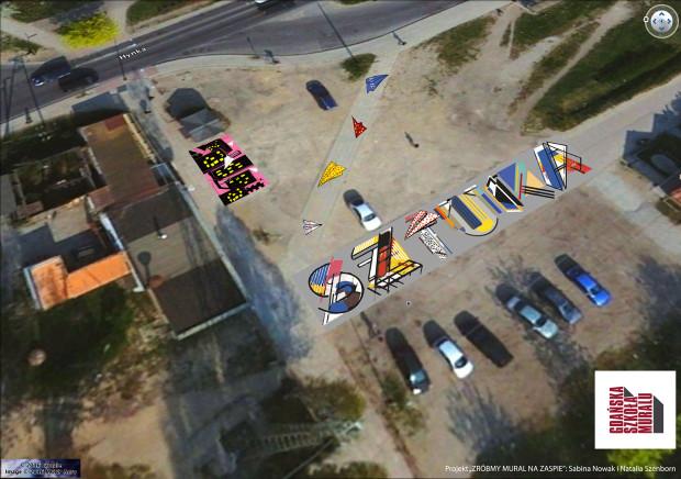 Wizualizacja poziomych murali, które powstały właśnie u zbiegu ul. Hynka i ul. Braci Lewoniewskich na Zaspie.