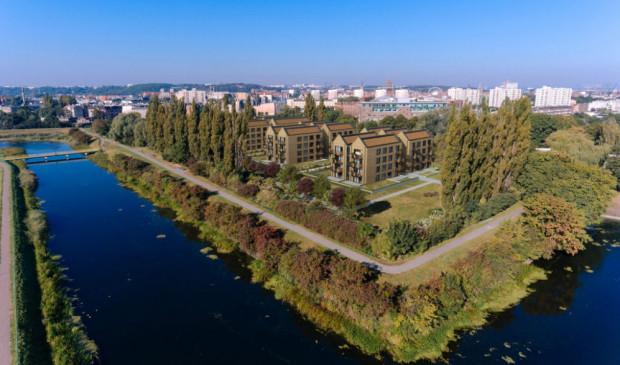 Front Park powstaje nad brzegiem Opływu Motławy - blisko Głównego Miasta.