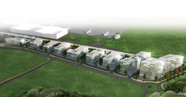Poglądowa wizualizacja przyszłej zabudowy Airport City przy lotnisku.