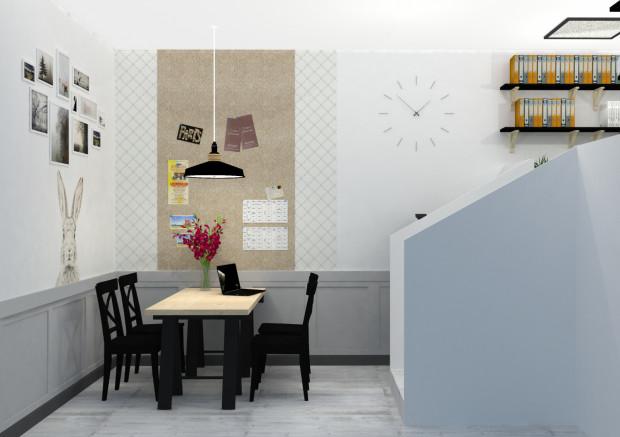 Koncepcja pierwsza. Pracownikom, którzy w  biurze spędzają dużo czasu zależy na tym, aby miejsce to miało domowy charakter. Łatwiej go uzyskać, kiedy wykorzystuje się meble takie jak w mieszkaniu.