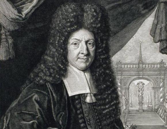 Paweł Pater trafił do Gdańska, gdzie dzięki poparciu burmistrza Johanna Ernsta Schmiedena (na obrazie Pietera van Gunsta) powierzono mu profesurę matematyki w Gimnazjum Akademickim.