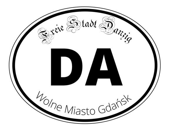 """Osoby związane z ideą Wolnego Miasta Gdańska naklejają na swoje samochody nalepki o treści DA (od """"Danzig"""") nawiązujące do jego quasi-państwowości."""