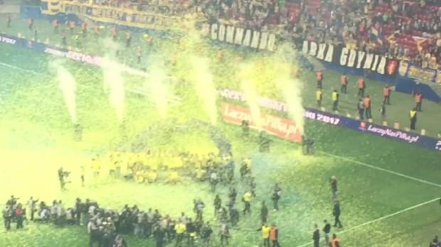 Feta na Stadionie Narodowym po wręczeniu piłkarzom Arki Pucharu Polski