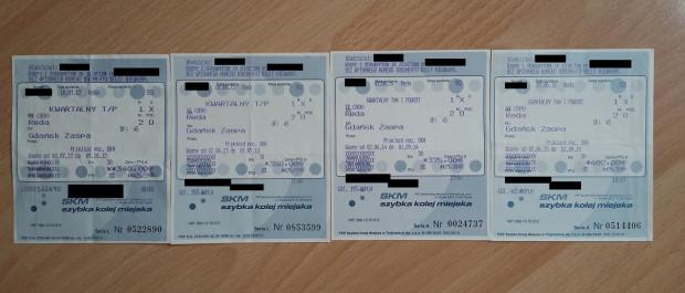 Cena biletu kwartalnego SKM na trasie Reda - Gdańsk Zaspa od 2012 r. wzrosła aż o 97 zł. Na zdjęciu tylko część biletów naszego czytelnika.