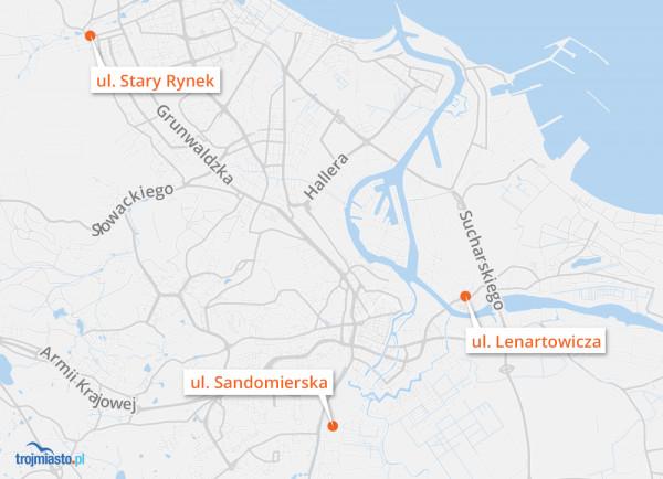 Lokalizacja rejestratorów na mapie Gdańska.