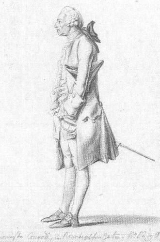 Eduard Friedrich Conradi był burmistrzem Gdańska przez 32 lata, do zajęcia miasta przez Prusaków po II rozbiorze Polski (rysunek Daniela Chodowieckiego z 1773 r.)