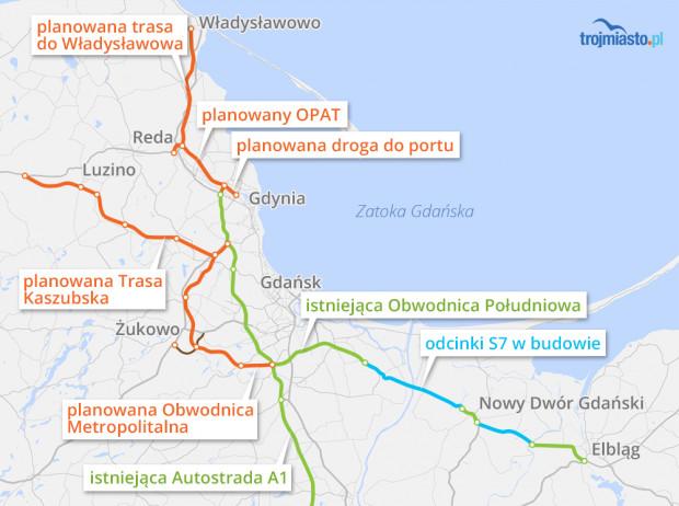 Planowane i istniejące drogi wokół Trójmiasta.