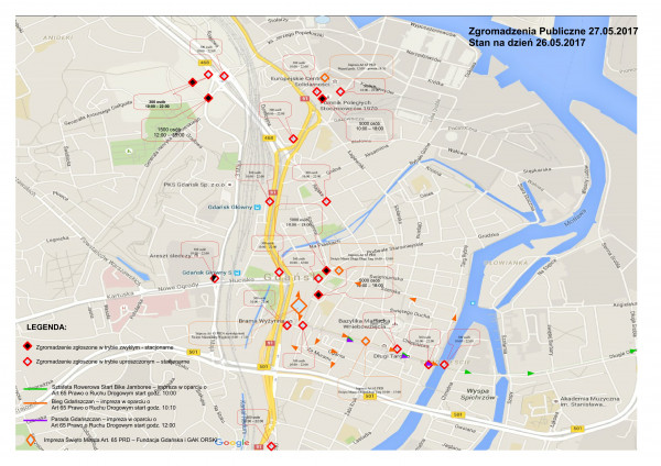 Mapa wszystkich sobotnich zgromadzeń, jakie mają odbyć się na ulicach Gdańska.