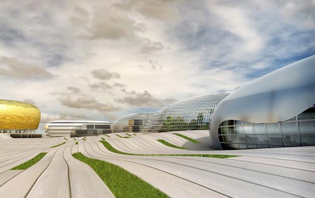 Koncepcja parku rozrywki przygotowana przez pracownię RKW, projektantów stadionu.