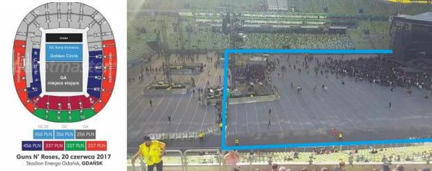 Po lewej strefa Golden Circle na oficjalnych materiałach pokazujących sektory na stadionie, po prawej - rzeczywista strefa Golden Circle (na niebiesko).