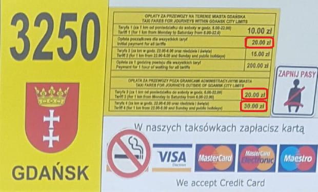 Ceny za przejazd 1 km zarówno na terenie Gdańska, jak i poza nim, mogą zwalić z nóg nawet zamożnych obcokrajowców.