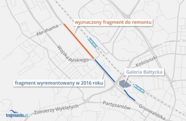 Zakres prowadzonych prac na al. Grunwaldzkiej w Gdańsku.