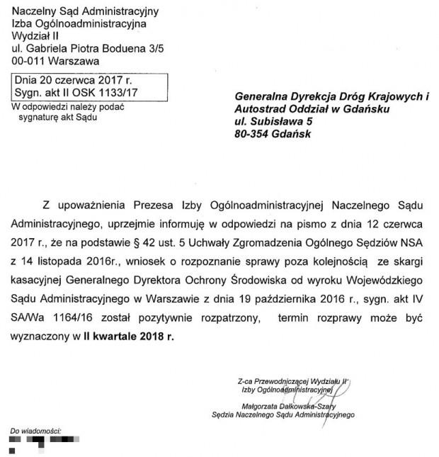 Pismo z NSA na temat rozstrzygnięcia kwestii decyzji środowiskowej dla budowy Obwodnicy Metropolitalnej.