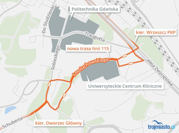 Organizacja ruchu i przebieg linii 115 na Smoluchowskiego w Gdańsku.