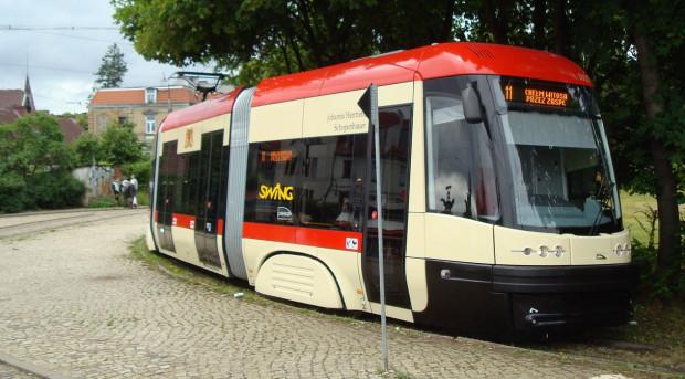 Joanna Schopenhauer jest patronką tramwaju Pesa Swing o numerze bocznym 1025.