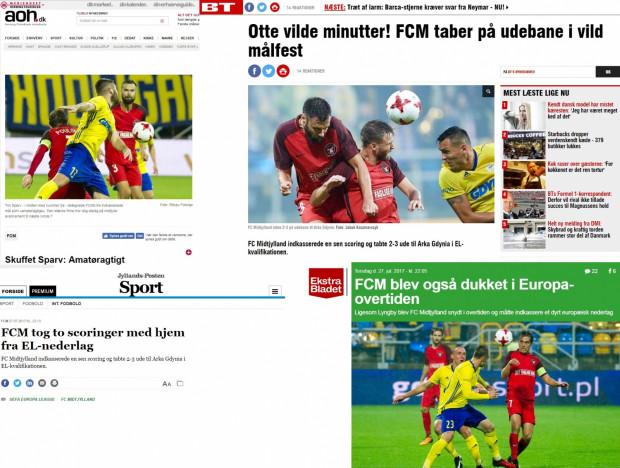 Nagłówki w duńskich mediach po porażce FC Midtjylland w Gdyni.