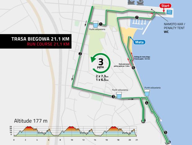 Trasa biegowa - 21,1 km.