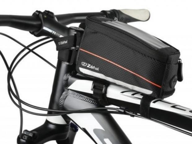 Przykładowa torebka na smartfona mocowana na ramie roweru