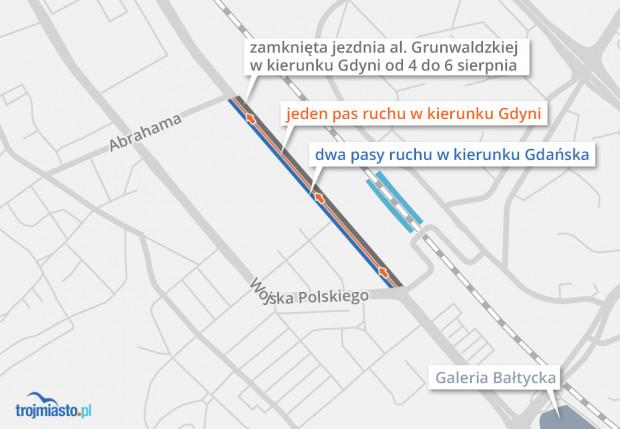 Weekendowa organizacja ruchu na alei Grunwaldzkiej w dzielnicy Strzyża.