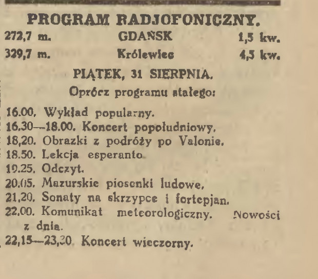 Wycinek z gazety z programem rozgłośni radiowej Wolnego Miasta zawierający m. in. naukę języka esperanto, 1928 r. (ze zbiorów BG PAN za pośrednictwem: Pomorska Biblioteka Cyfrowa)
