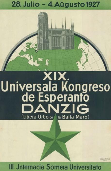 Plakat reklamujący XIX Światowy Kongres Esperantystów w Gdańsku, 1927 r.