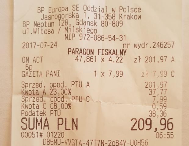 Potwierdzenie tankowania na stacji BP przy ul. Witosa.