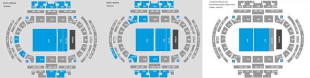"""Na fanowskich forach miłośnicy Depeche Mode wklejają """"ewolucję"""" wielkości strefy GA1 na mapkach widocznych podczas zakupu biletów."""