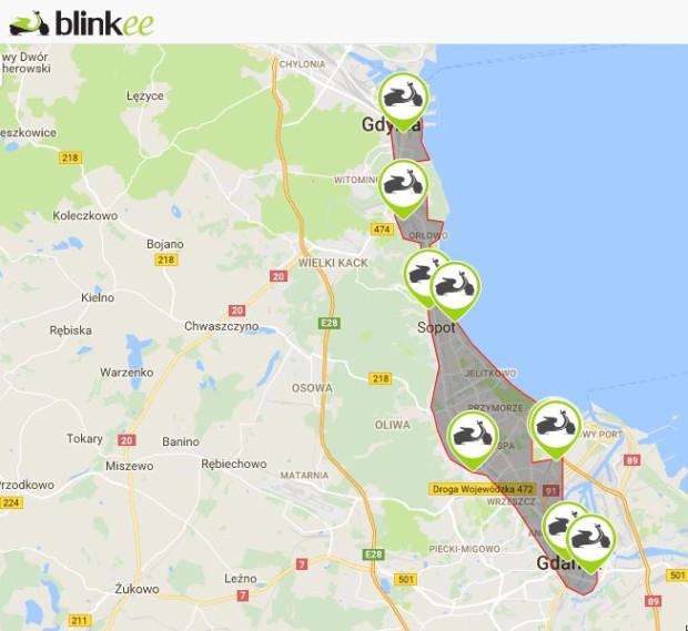 Skutery sieci Blinkee można wypożyczyć i odstawić tylko w części Trójmiasta, przede wszystkim na tzw. dolnym tarasie, pomiędzy śródmieściami Gdańska i Gdyni.