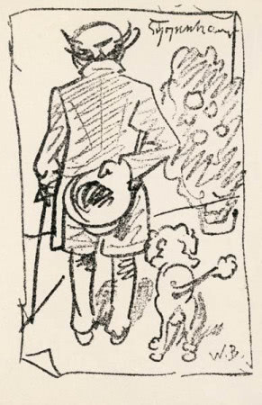 Karykatura filozofa spacerującego z pudlem