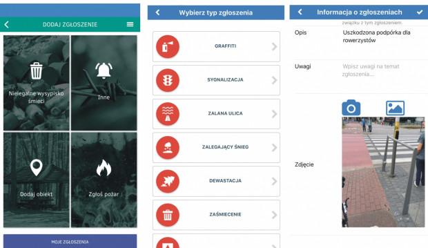 Przykładowe kategorie spraw, które można zgłaszać poprzez mobilną aplikację gdańskiej Mapy Porządku