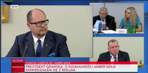 Paweł Adamowicz zeznawał w spawie Amber Gold przed komisją śledczą.