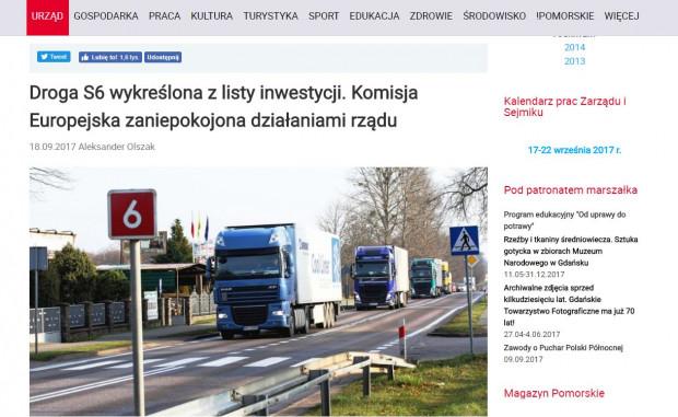 Informacje na stronie urzędu marszałkowskiego o wykreśleniu z list na dofinansowanie drogi ekspresowej S6.