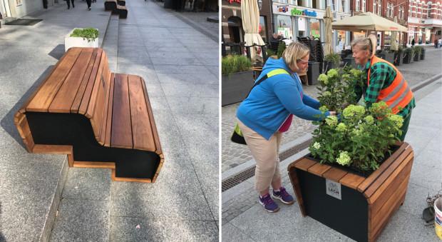 Na ul. Stągiewnej zamontowano nowe ławki, śmietniki oraz donice.