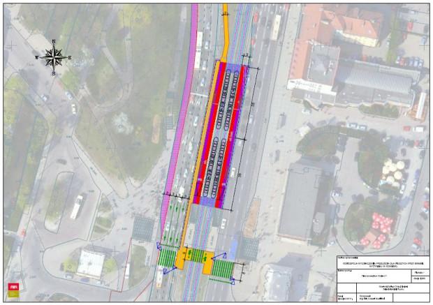 Rekomendowana koncepcja przejścia naziemnego między Bramą Wyżynną i Forum Gdańsk. Przystanki tramwajowe zostaną wydłużone, a pasy jezdni nieco zwężone. Dzięki temu powstanie chodnik łączący przystanki z naziemnym przejściem dla pieszych.
