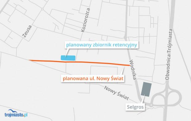 Lokalizacja planowanego zbiornika retencyjnego.