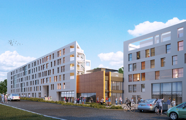 Nowy prywatny akademik na około 530 osób składał się będzie z dwóch pięciopiętrowych budynków. Pomiędzy nimi znajdzie się ogólnodostępna sala z punktami gastronomicznymi.