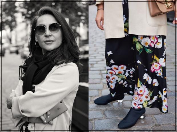 W stylizacji Nastii naszą uwagę przykuła piękna sukienka w kwiaty i ciekawe buty. Nastia uszyła ją samodzielnie, co bardzo nam się spodobało. Świetny projekt, brawo za kreatywność. Taka kobieca stylizacja to idealny pomysł na weekendowy spacer po mieście.
