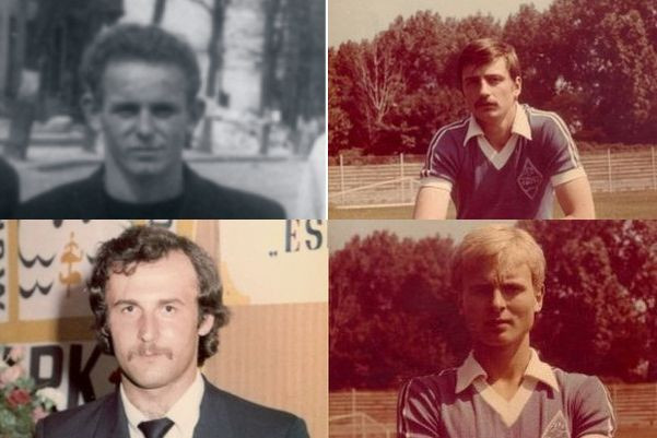 Strzelcy goli dla reprezentacji Polski w latach 1949-81, czasach, gdy grali w trójmiejskich klubach: Alfred Kokot, Adam Walczak (górny rząd), Janusz Kupcewicz, Piotr Rzepka (dolny rząd).