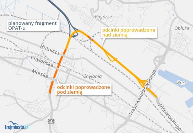 Przebieg drogi do Portu Gdynia planowany był wraz z budową OPAT-u. Po przemianowaniu drogi na półwysep na Via Maris, jej pierwszy fragment ma biec jednak po tym samym śladzie.