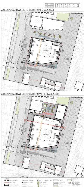 Rzuty obrazujące zagospodarowanie terenu w przypadku budowy obiektu na terenie należącym obecnie do inwestora oraz w przypadku realizacji pełnej zabudowy.