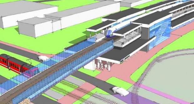 Węzeł przesiadkowy Strzyża przy ul.  Wita Stwosza . Budowa stacji wymusi częściowe rozebranie istniejącego nasypu.