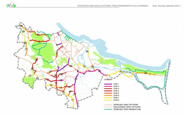Strategia Rozwoju Systemu Tras Rowerowych Trójmiasta (STeR). Dokument z 2013 roku pokazuje jakie ważniejsze trasy rowerowe mająbyćbudowane. Niestety wiele prac nawet z pierwszego z założonych etapów cztery lata po przyjęciu dokumentu dalej nie jest zrealizowanych.