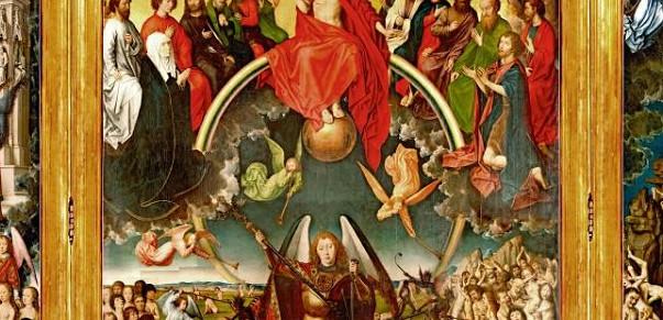 """Złota kula znajduje się pod stopami Jezusa Chrystusa na najsłynniejszym gdańskim zabytku, obrazie """"Sąd ostateczny"""" Hansa Memlinga."""