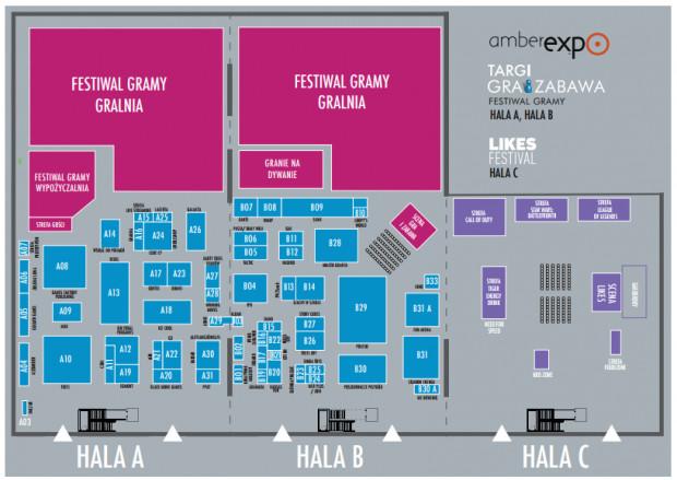 Trzy hale i trzy imprezy - festiwalowa mapa.