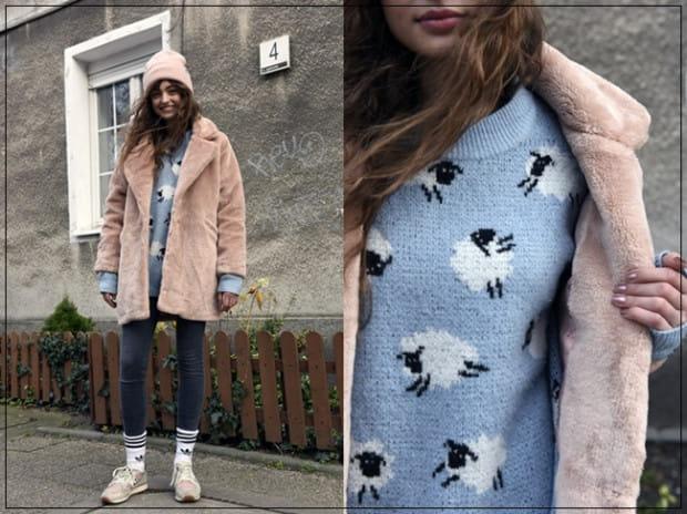 Klaudia w bardzo ciekawy sposób zestawiła ze sobą kolory oraz wzory. Sweter w baranki w stylu vintage idealnie komponuje się z dziewczęcym kolorem różu, który pojawia się tutaj w kilku odcieniach. Podoba nam się połączenie futra i sportowych butów oraz skarpet, które są również charakterystycznym elementem w stylizacji. Takie połączenie to świetna propozycja na chłodniejsze jesienne dni.