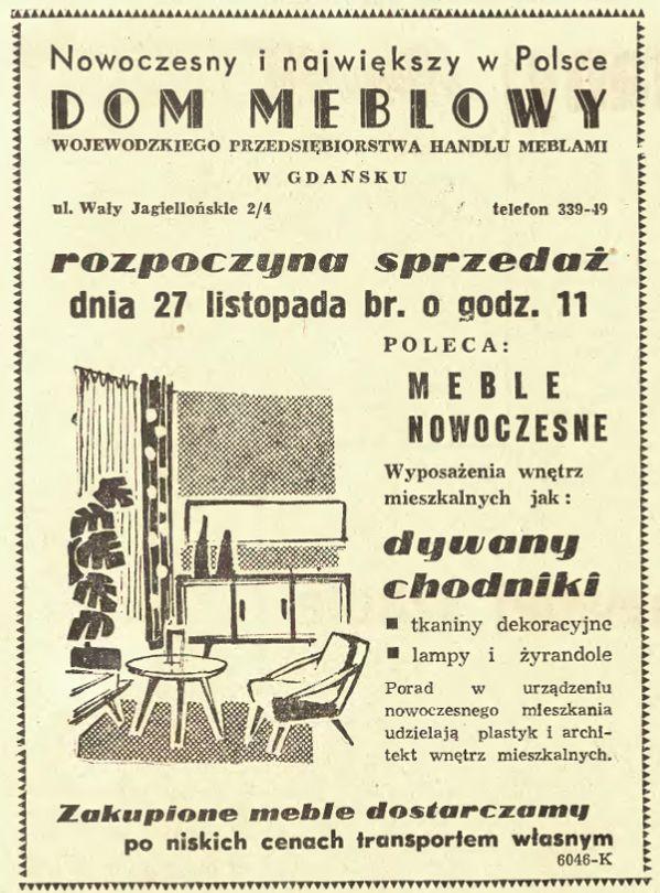 Reklama domu meblowego z 1961 r.