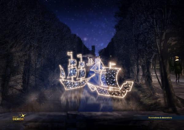 W parku Oliwskim na stawach będzie pływać 10 świetlnych galeonów.