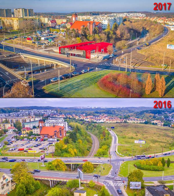Tak zmieniło się otoczenie, w którym powstał przystanek PKM na Karwinach.