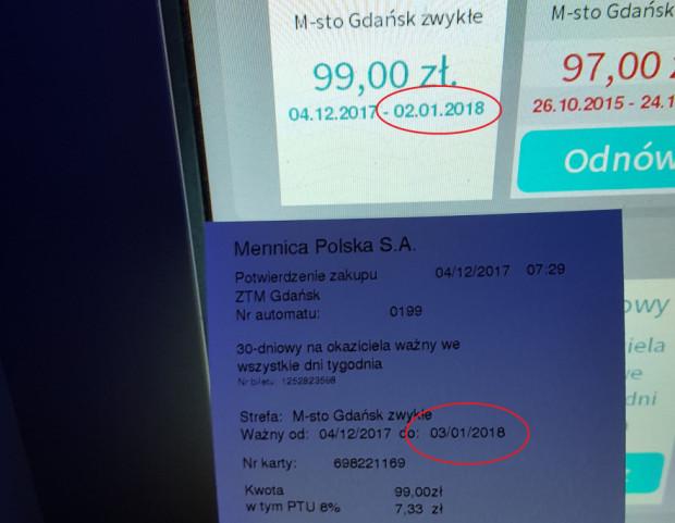 Automat doładował bilet do 2 stycznia 2018, ale na potwierdzeniu wydrukował inną datę - 3 stycznia. Mimo, że wprowadza pasażerów w błąd, operator twierdzi, że to... wina karty.